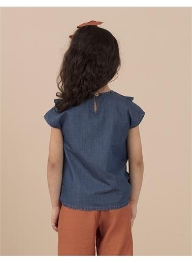 Ollie & olla V Fırfır Detaylı Kot Bluz Lacivert